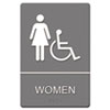 Headline Sign ADA Sign, Women Restroom Wheelchair Accessible Symbol, Molded Plastic, 6 x 9