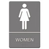 Headline Sign ADA Sign, Women Restroom Symbol w/Tactile Graphic, Molded Plastic, 6 x 9, Gray