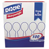 Dixie® Plastic Cutlery, Heavyweight Soup Spoons, White, 100/Box