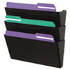 Universal® Recycled Wall File, Three Pocket, Plastic, Black