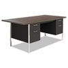 Alera® Double Pedestal Steel Desk, Metal Desk, 72w x 36d x 29.5h, Mocha/Black