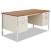 Alera® Double Pedestal Steel Desk, Metal Desk, 60w x 30d x 29.5h, Cherry/Putty
