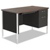 Alera® Single Pedestal Steel Desk, Metal Desk, 45.25w x 24d x 29.5h, Mocha/Black