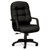 HON® 2090 Pillow-Soft Executive High-Back Swivel/Tilt Chair, Black Fabric/Black Base