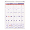 AT-A-GLANCE® Recycled Monthly Wall Calendar, Blue and Red, 8