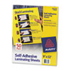 Avery® Clear Self-Adhesive Laminating Sheets, 3 mil, 9 x 12, 50/Box