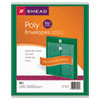 Smead® Poly String & Button Envelope, 9 3/4 x 11 5/8 x 1 1/4, Green, 5/Pack
