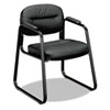 basyx® VL653 Guest Side Chair, Black Leather/Black Frame