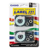 Casio® Tape Cassettes for KL Label Makers, 12mm x 26ft, Black on White, 2/Pack