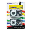 Casio® Tape Cassettes for KL Label Makers, 18mm x 26ft, Blue on White, 2/Pack