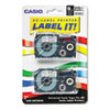 Casio® Tape Cassettes for KL Label Makers, 9mm x 26ft, Black on Silver, 2/Pack