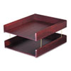 Carver™ Hardwood Double Letter Desk Tray, Two Tier, Mahogany