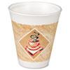 Dart® Foam Hot/Cold Cups, 16oz, White w/Brown & Green, 1000/Carton