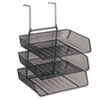 Fellowes® Mesh Partition Additions Three-Tray Organizer, 11 1/8 x 14 x 14 3/4, Black