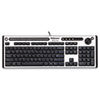Fellowes Slimline Antimicrobial Multimedia Keyboard, 122 Keys, Black/Silver