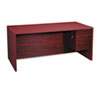 "10500 Series ""L"" Right 3/4-Height Pedestal Desk, 66 x 30 x 29-1/2, Mahogany"