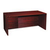 "10500 Series ""L"" Left 3/4-Height Pedestal Desk, 66 x 30 x 29-1/2, Mahogany"