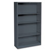 HON® Metal Bookcase, 4 Shelves, 34-1/2w x 12-5/8d x 59h, Charcoal