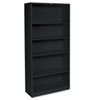 HON® Metal Bookcase, 5 Shelves, 34-1/2w x 12-5/8w x 71h, Black