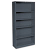 HON® Metal Bookcase, 5 Shelves, 34-1/2w x 12-5/8d x 71h, Charcoal