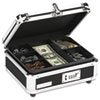 Vaultz® Plastic & Steel Cash Box w/Tumbler Lock, Black & Chrome