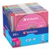 Verbatim® CD-R Discs, 700MB/80min, 52x, Slim Jewel Cases, Assorted Colors, 25/Pack