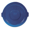 "Round Flat Top Lid, for 32-Gallon Round Brute Containers, 22 1/4"", dia., Blue"
