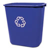 Rubbermaid® Commercial Medium Deskside Recycling Container, Rectangular, Plastic, 28.125qt, Blue