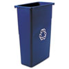 Rubbermaid® Commercial Slim Jim Recycling Container, Rectangular, Plastic, 23gal, Blue