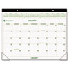 AT-A-GLANCE® Recycled Two-Color Desk Pad Calendar, Green and Brown, 22