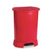 Rubbermaid® Commercial Step-On Container, Oval, Polyethylene, 30 gal, Red