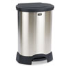 Rubbermaid® Commercial Step-On Container, Oval, Stainless Steel, 30gal, Black