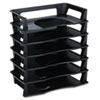 Rubbermaid Regeneration Letter Tray, Six Tier, Plastic, Black