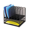 Safco® Mesh Desk Organizer, Eight Sections, Steel, 13 1/2 x 11 3/8 x 13, Black