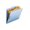 Smead Pressboard Classification Folders, Letter, Six-Section, Blue, 10/Box