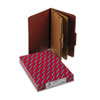 Smead Pressboard Folders with Two Pocket Dividers, Legal, Six-Section, Red, 10/Box