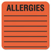 Tabbies® Medical Labels for Allergies, 2 x 2, Orange, 500/Roll