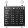 Headline® Sign Century Series Business Hours Sign, Heavy-Duty Plastic, 13 x 14, Black