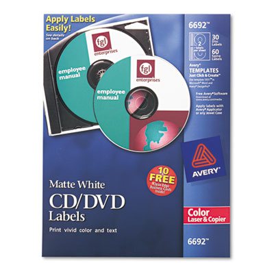 ave 5692 avery laser cd labels matte white 40 pack