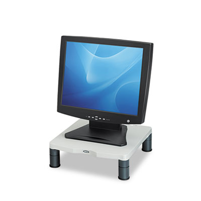 Fellowes Adjustable Monitor Riser with Storage Tray 16 x 9 3//8 x 6 Black Pearl