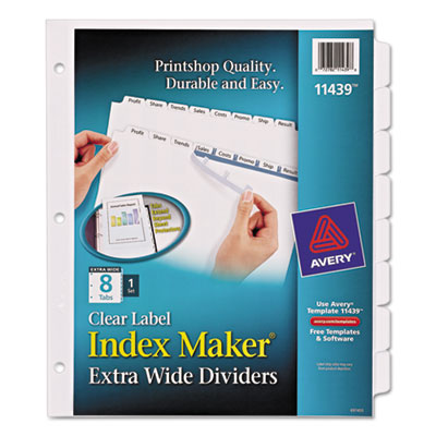 Ave 11439 avery print apply clear label dividers wwhite tabs 8 ave 11439 saigontimesfo