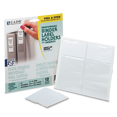 2 1//4 x 3 12//Pack Clr Top Load CLine SelfAdhesive Ring Binder Label Holders