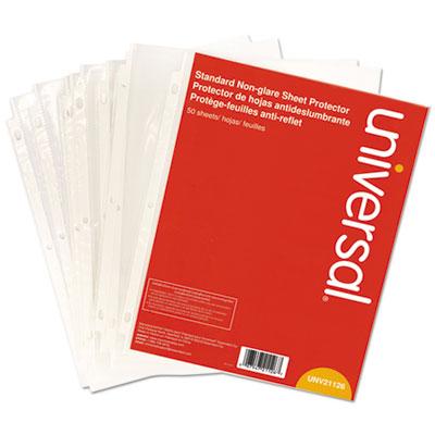 UNIVERSAL Standard Sheet Protector Standard 8 1//2 x 11 Clear 100//Box 21121