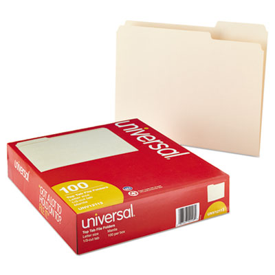 UNIVERSAL File Folders 1//2 Cut One-Ply Top Tab Letter Manila 100//Box 12112