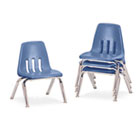 "9000 Series Classroom Chairs, 10"" Seat Height, Blueberry/Chrome, 4/Carton VIR901040"