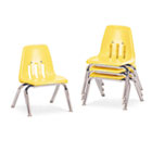 "9000 Series Classroom Chairs, 10"" Seat Height, Squash/Chrome, 4/Carton VIR901047"