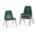 "9000 Series Classroom Chairs, 10"" Seat Height, Forest Green/Chrome, 4/Carton VIR901075"