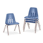 "9000 Series Classroom Chairs, 12"" Seat Height, Blueberry/Chrome, 4/Carton VIR901240"