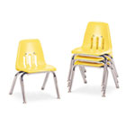 "9000 Series Classroom Chairs, 12"" Seat Height, Squash/Chrome, 4/Carton VIR901247"