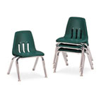 "9000 Series Classroom Chairs, 12"" Seat Height, Forest Green/Chrome, 4/Carton VIR901275"
